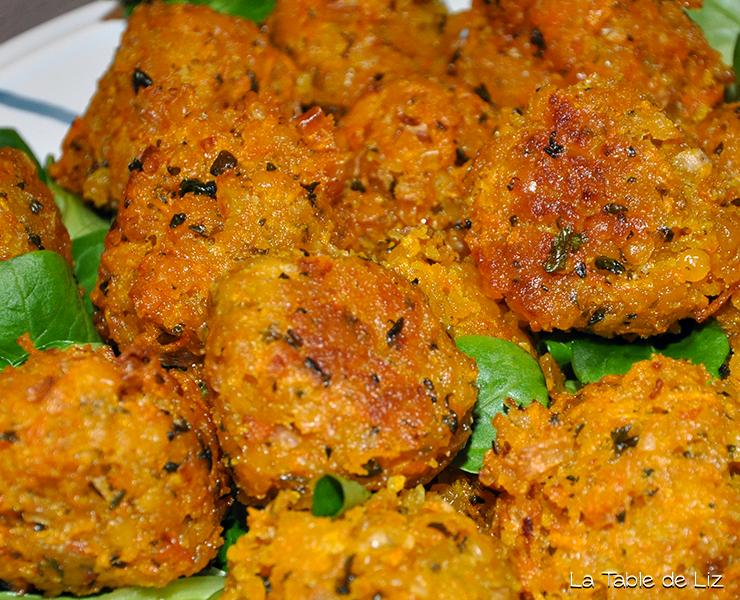 Accras de butternut et lentilles corail, recette végératienne, recette végane de La Table de Liz
