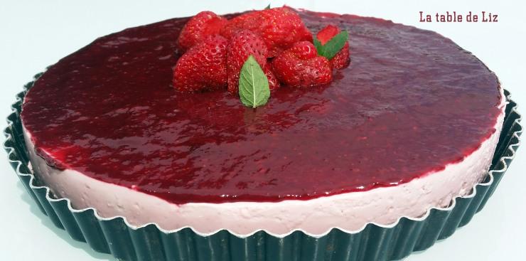 cheesecake fraise spéculos sans cuisson avec coulis de fraises