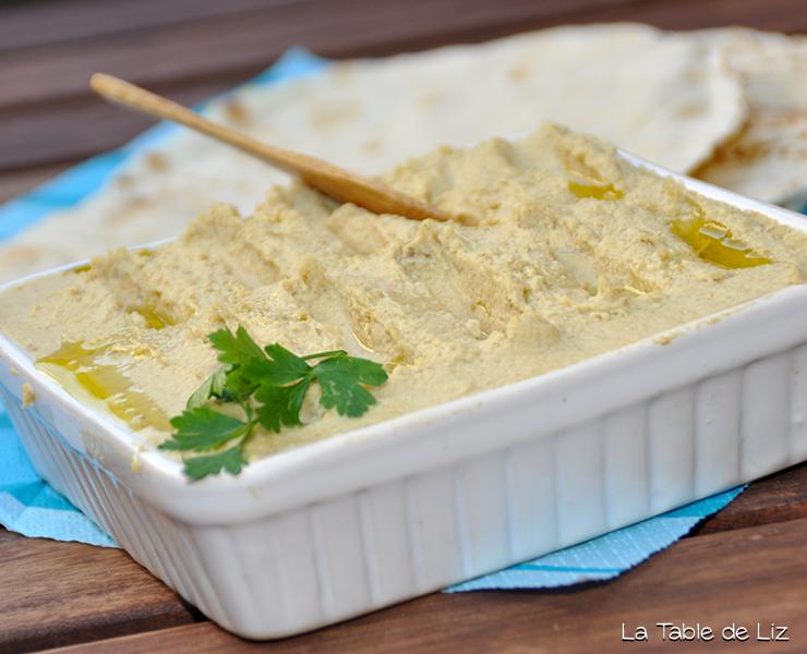 Houmous de pois chiches, recette végétarienne, recette végane libanaise de La Table de Liz