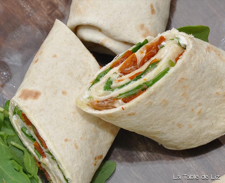 Wraps à l'italienne, rcette végétarienne de la Table de Liz