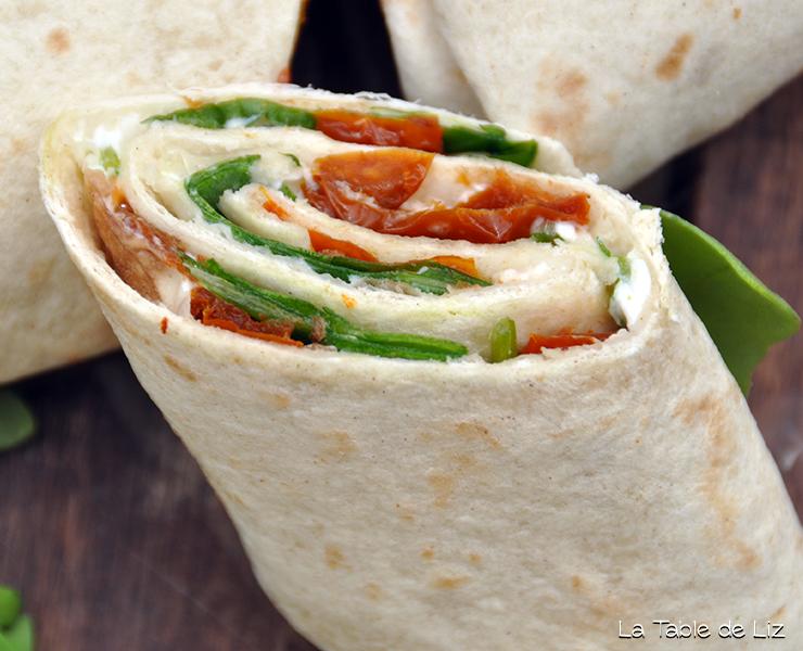 Wraps à l'italienne, recette végétarienne de la Table de Liz