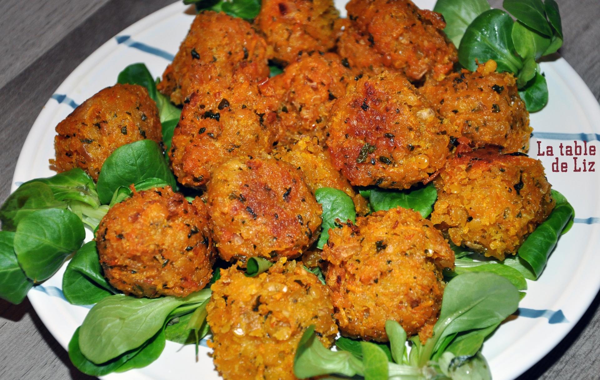 Accras de butternut et lentilles corail, recette végétarienne de La-table-de-Liz