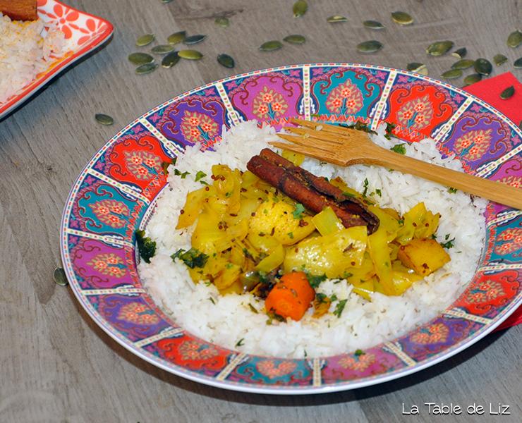 Chou aux 5 épices et riz vanillé recette végétarienne, recette végane de La Table de Liz