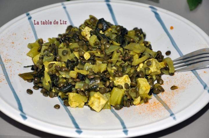 Lentilles et blettes au curcuma recette végétarienne de La Table De Liz