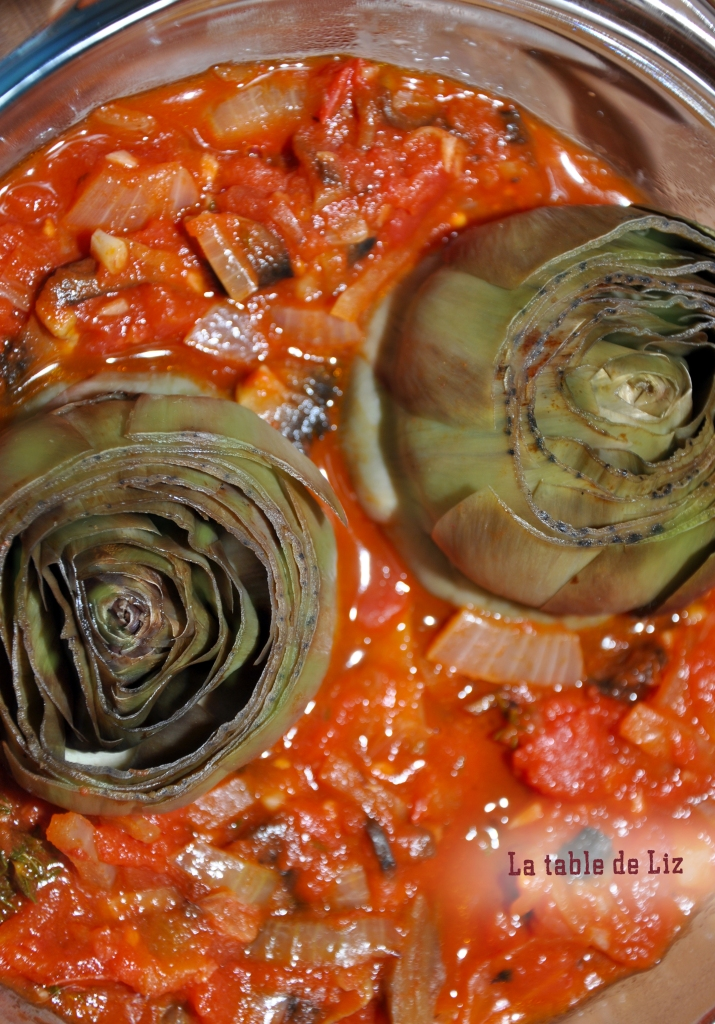 Artichauts sauce tomate provencale recette végétarienne de La-table-de-Liz