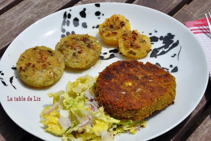 Galette de lentilles blondes et tomates provençales. recette végétarienne La-Table-de-Liz