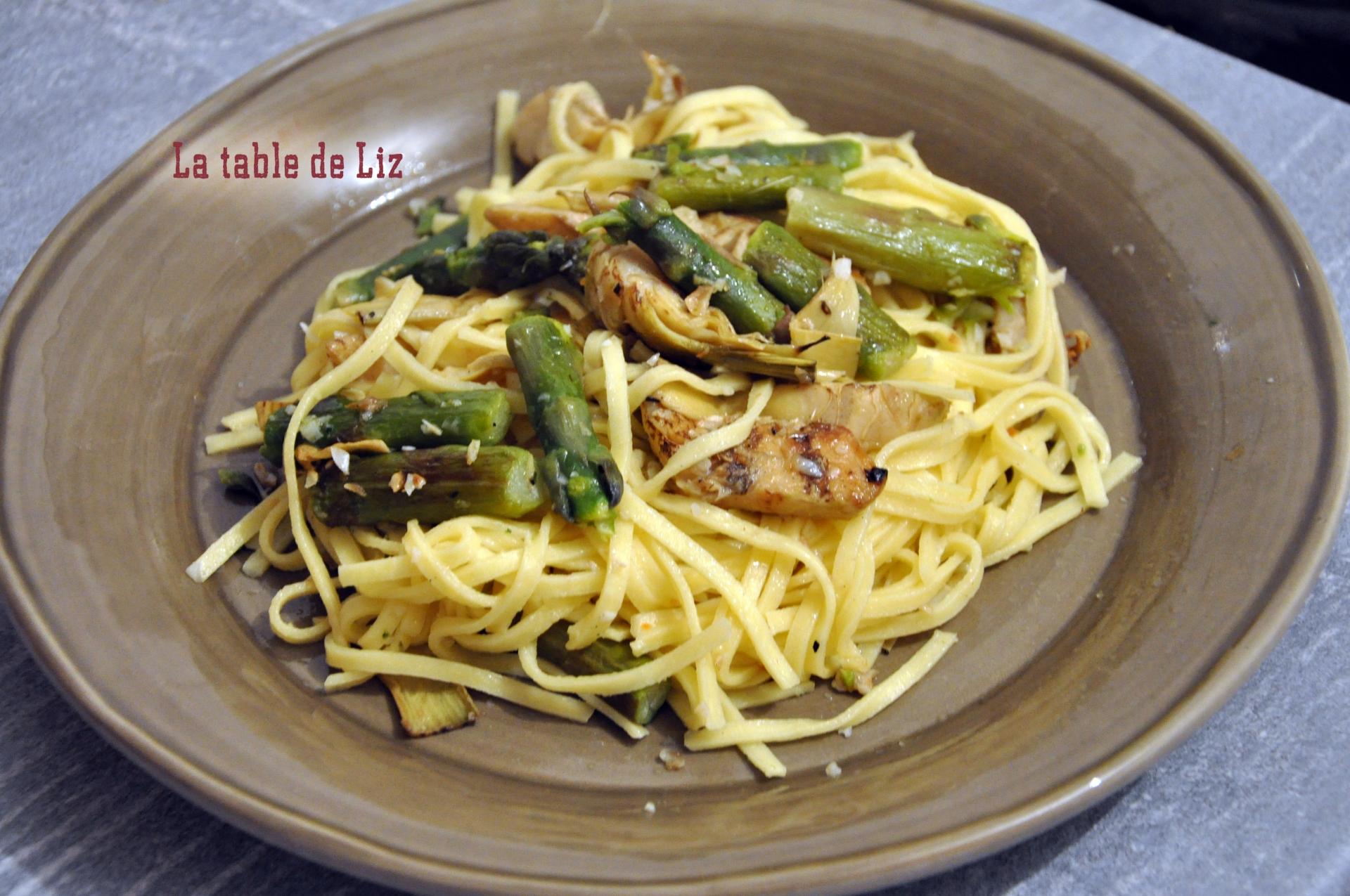 Taglioni asperges et artichauts grillés recette végétarienne La-table-de-Liz