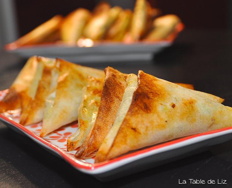 Samossas poireaux et fromage de chèvre recette végétarienne de La Table de Liz