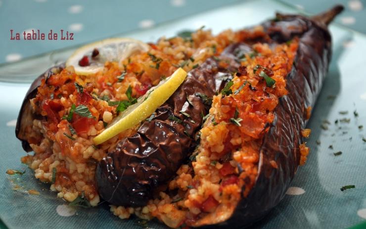 Aubergines au boulgour gourmand, recette végétarienne de La table de Liz détail
