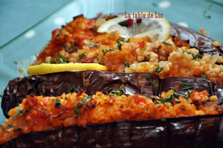 Aubergines au boulgour gourmand, recette végétarienne de La table de Liz