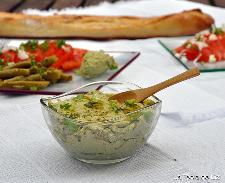 Houmous basilic, recette végétarienne, recette végane de La Table de Liz