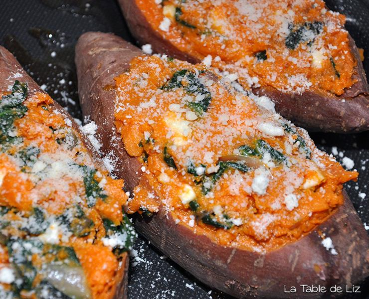 Patates douces farcies aux blettes recette végétarienne de la Table de LIz