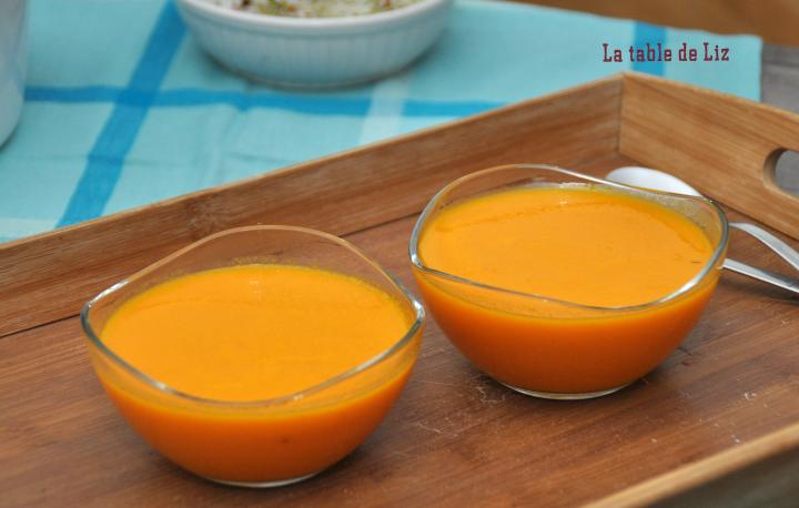 Velouté potiron carottes gingembre detail, recette végétarienne de La table de Liz