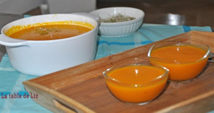 Velouté potiron carottes et gingembre vue ensemble, recette végétarienne de La Table de Liz