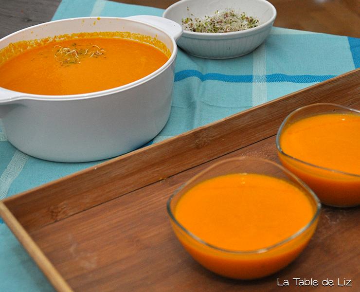 Velouté potiron carottes et gingembre, recette végétareinne recette végane de La Table de Liz