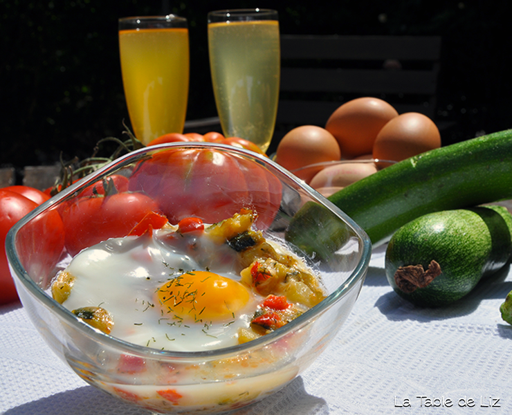 Oeuf cocotte coloré au pélardon, recette végétarienne de La Table de Liz