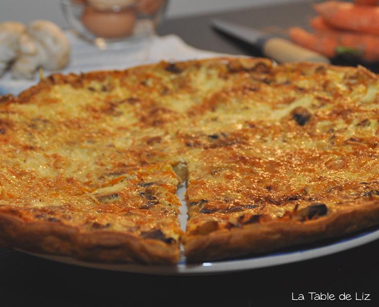 Tarte carottes champignons recette végétarienne de La Table de Liz