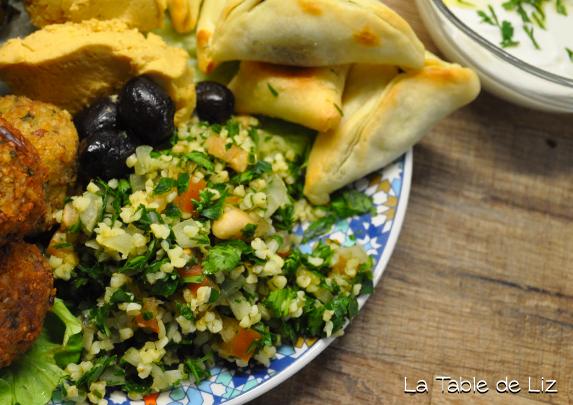 Assiette libanaise recettes végétariennes de La Table de Liz
