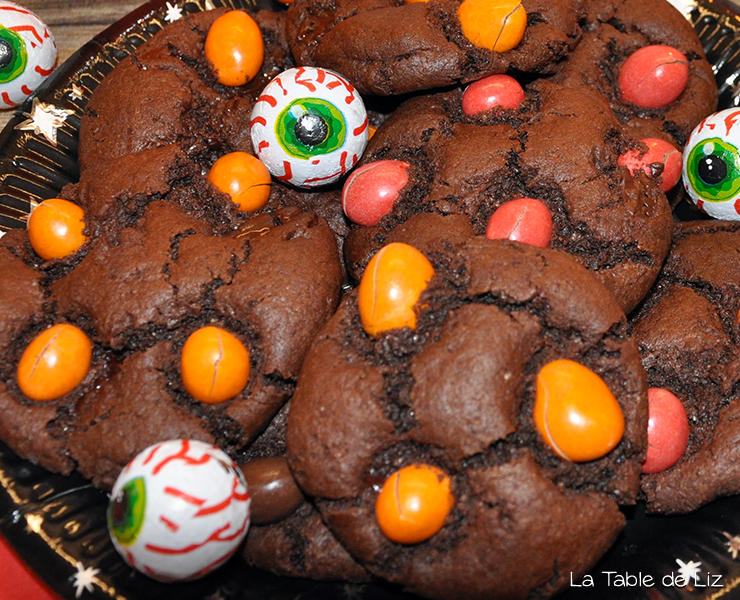 Les terrifiants cockies tout chocolat d'Haloween de La Table de Liz
